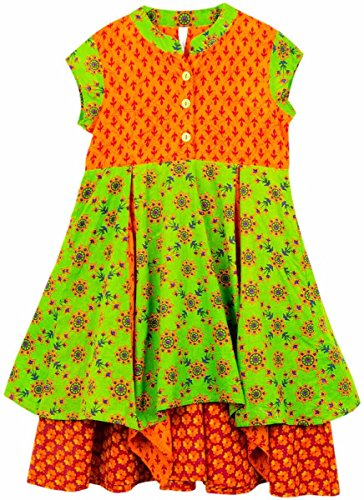 lil'posh Multi Layer Dress - Orange/Green (1-2Y)