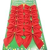 12er Set Weihnachtsbaum Deko Weihnachtsdeko Bow Party Garden Dogen Dekor Weihnachtsverzierung (Rot)