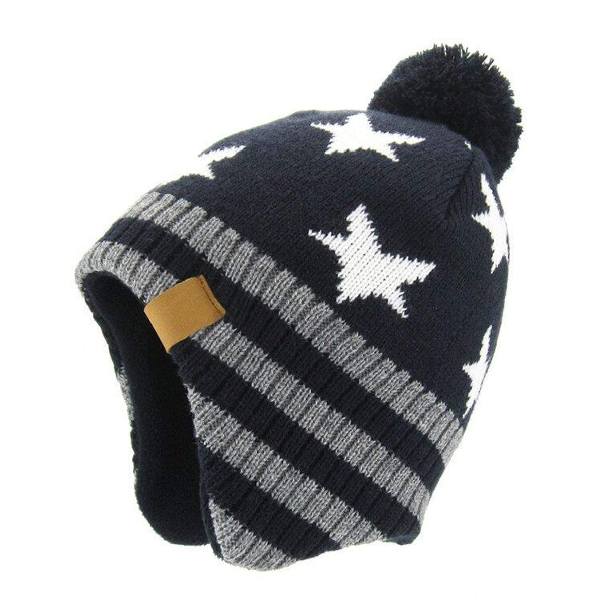 JOYEBUY Baby Boys Girls Warm Winter Knit Hats Fleece Skiing Earflap Caps