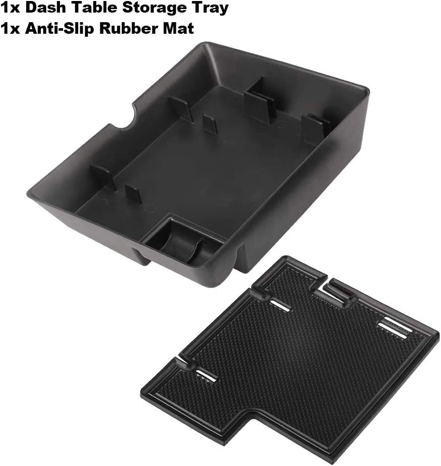 Dash Center Console Table Storage Tray Fit for Ford F150 2015-2020 and Ford Expedition 2018-2020,Instrument Organizer ABS Black Materials Anti-Slip Rubber Pad