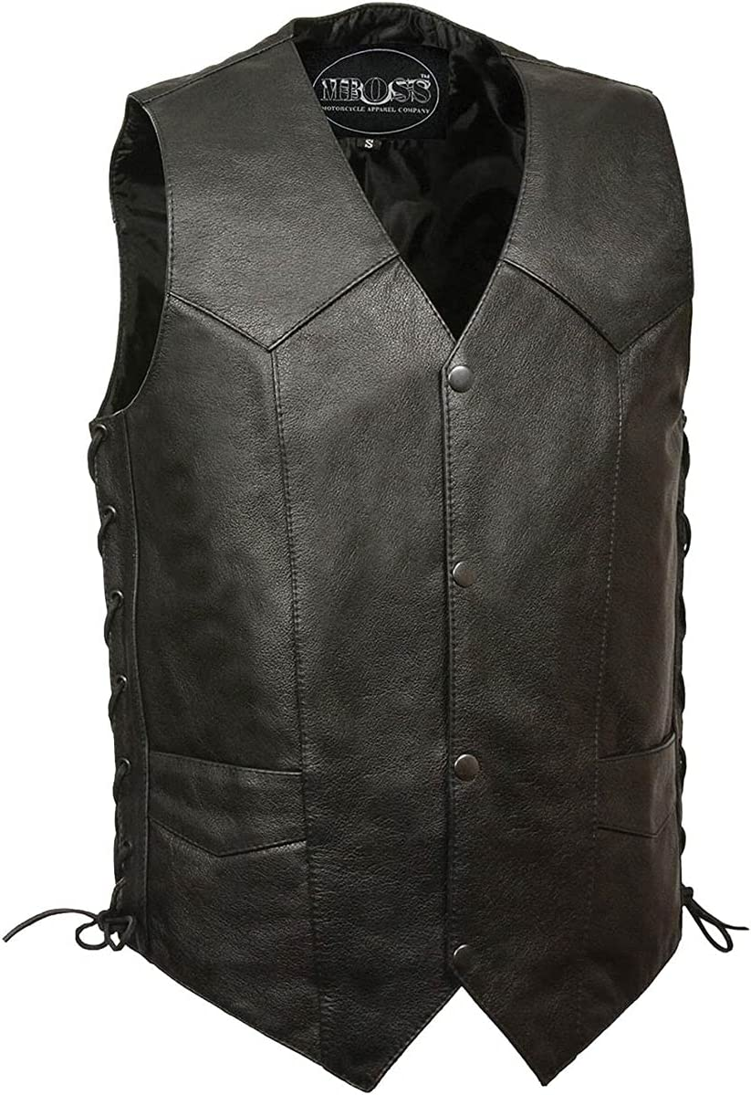 M-BOSS MOTORCYCLE APPAREL-BOS13516T-BLACK-Men's tall size concealed carry classic biker leather vest.-BLACK-MEDIUM-TALL