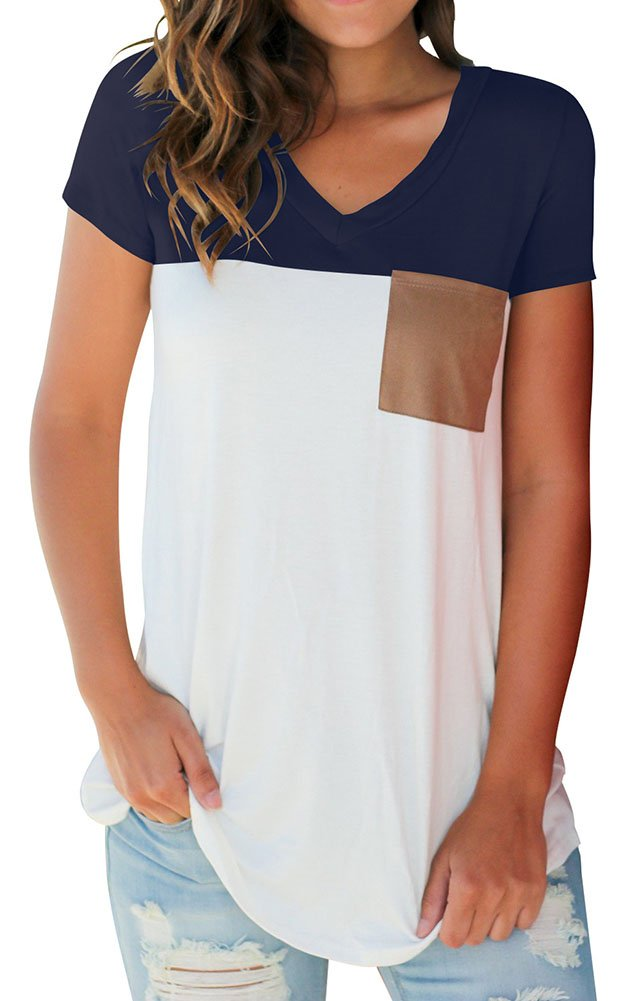 Short Sleeve V Neck Tee Shirts Tops Blouse with Suede Pocket Navy M