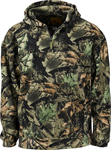 Trail Crest Fleece Hunting Camouflage 1/4 Zip Hooded Sweatshirt (L, Camo)