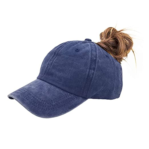 fc32bc23de825 Amazon.com  FGSS Unstructured Women Ponytail-Baseball-Cap for Messy-Bun -  Cotton Dad Hats for Girls  Clothing