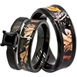 KingswayJewelry His U0026 Hers 1.25 Ct Natural Genuine Black Spinel Camo 3 Pcs  Surgical Stainless Steel