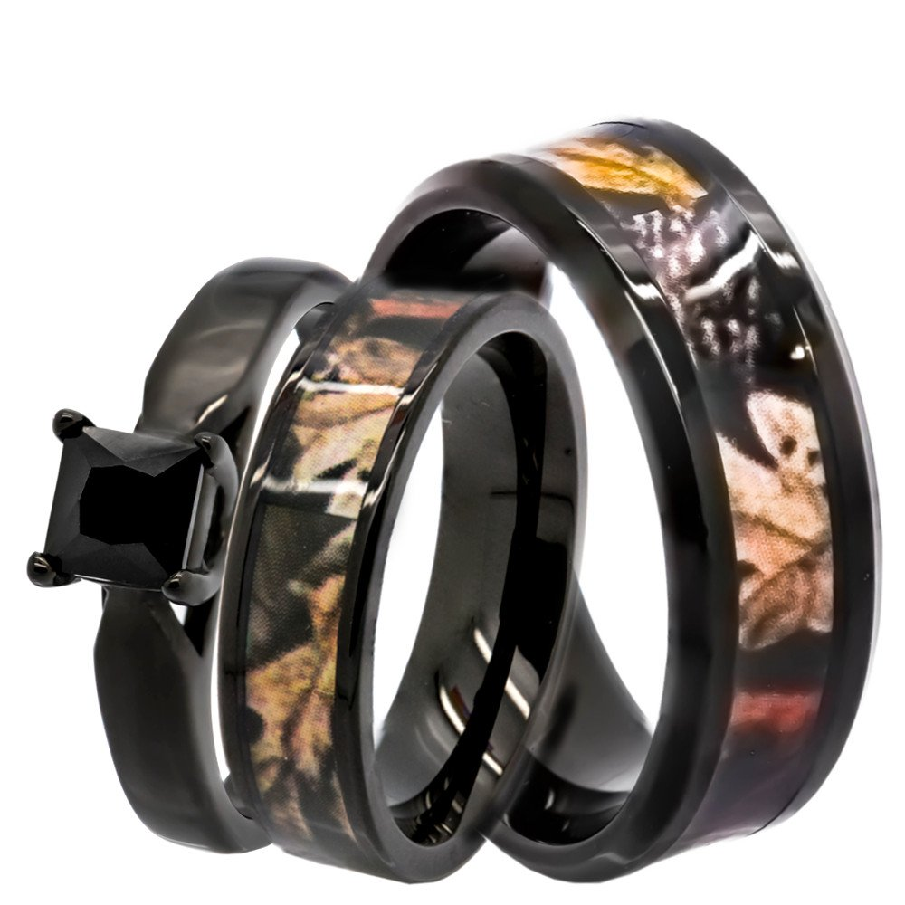 KingswayJewelry His & Hers 1.25 ct Natural Genuine Black Spinel Camo 3 pcs Surgical Stainless Steel Engagement Wedding Rings set