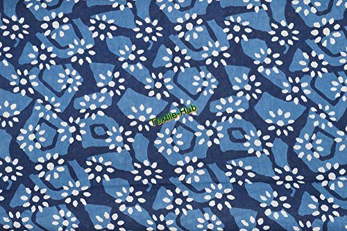(Indian Ajrakh Floral Screen Print Cotton Fabric for Sewing Crafting Dress Making Running Natural Dye Sanganeri Print Fabric by)