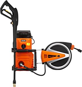 Giraffe Tools 1600Max PSI, 1.28GMP Electric Pressure Washer, 10AMP Power Washer with Spray Gun and 2 Quick-Connect Nozzles, Equipped with Retractable Hose Reel for Garden Cleaning