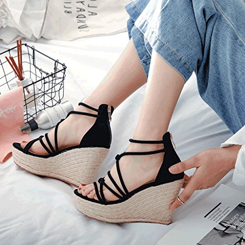 Color Wedge Women's Toe black Elegant 39 High Size Sandals Wedge Black Bohemian Platform Round Heels wx0AAqXv5