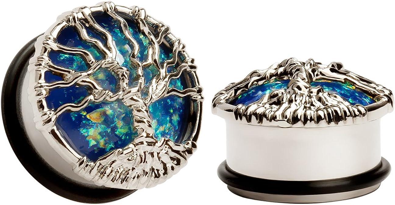 Image of KUBOOZ Blue Planet Silvery Tree Tapones para los oídos Túneles Medidores Stretcher Piercings Jewelry