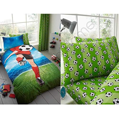 Soccer Footballer Selfie UK Single / US Twin Duvet Cover and Pillowcase Plus Matching Single Fitted Sheet by T&A Textiles and Hosiery Ltd