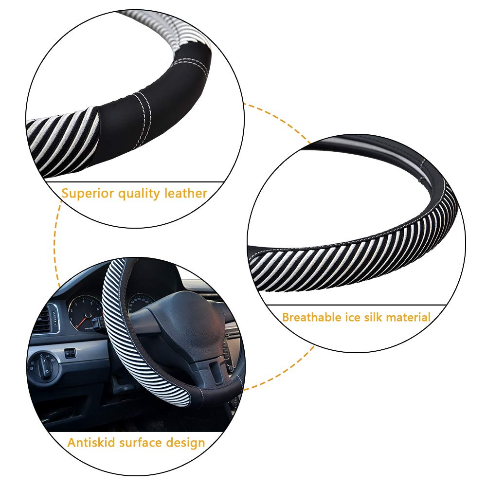 No Smell Universal 15 Inch Microfiber Leather Car Steering Wheel Cover for Car Truck SUV Steering Wheel Cover Breathable Anti-Slip White Warm in Winter Cool in Summer