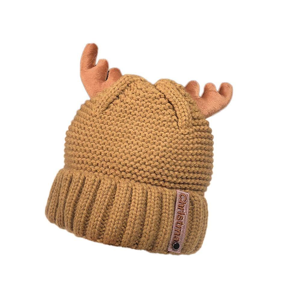 Skang Frauen Herbst Winterkaschmir Geweih Hut strickende Wollwarme Weihnachtsm/ütze M/ütze Schal Kappe Beanie