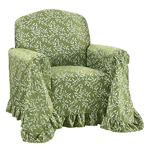 Leaf Design Furniture Protector Throw Cover With Ruffled Border, Sage  Green, Chair