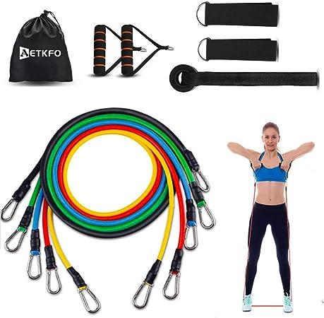 AETKFO Bandas Elasticas Musculacion, Bandas de Resistencia Fitness Cintas Elasticas Musculacion para Yoga,Estiramientos,Muscular,Fuerza,Tubos de ...