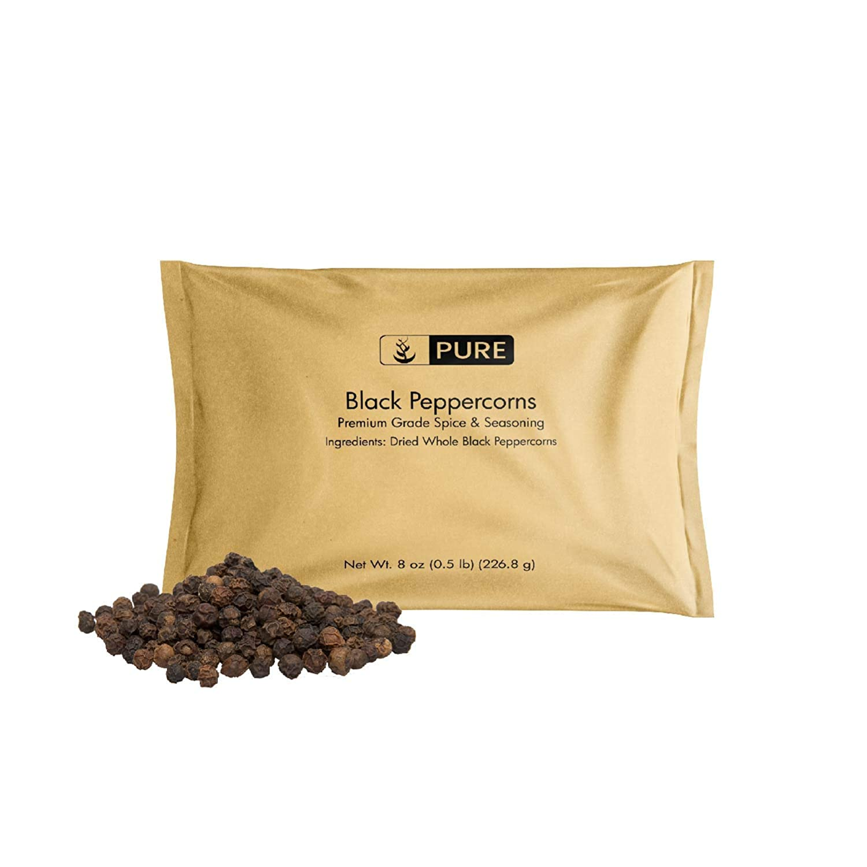 Black Peppercorns (8 oz), Seasoning, Flavoring Agent, Natural Food Preservative, Gluten Free, Vegan, Eco-Friendly Packaging