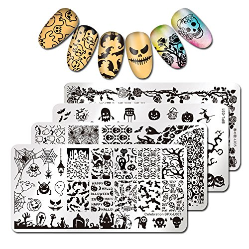 BORN PRETTY 4Pcs Nail Art Stamping Plates Halloween Pumpkin Ghost Skull Bat Templates Image Plates for manicuring DIY Print ()
