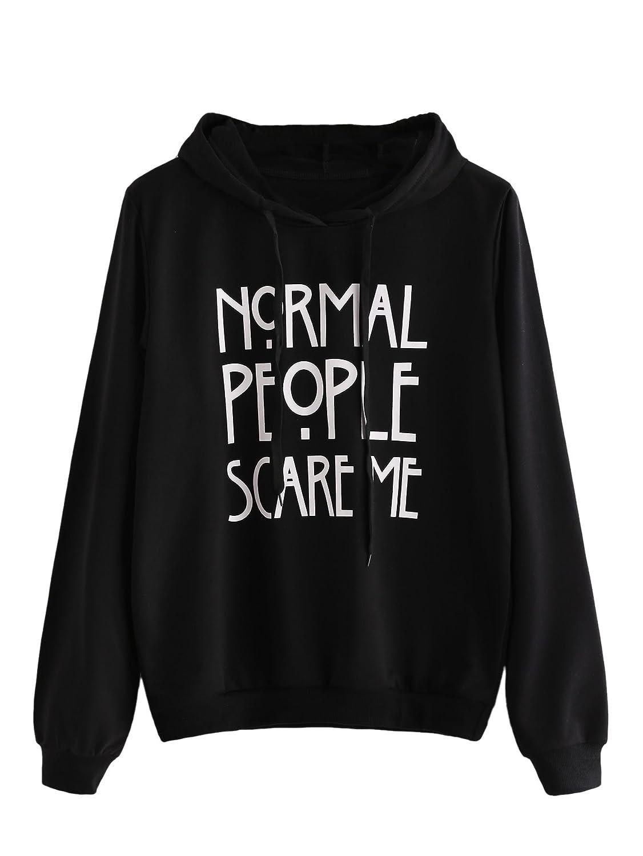 SweatyRocks Sweatshirt Women's Pullover Fleece Drop Shoulder Letter Hoodie