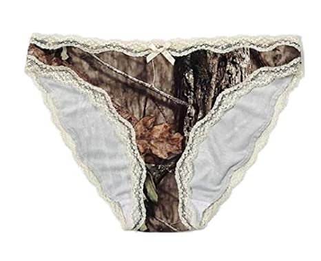 6770bec02924 Mossy Oak Womens Breakup Country Camo & Cream Laced Pantie With Organza Bag  602050 (Small