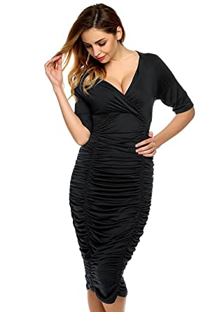 f991c7ff13 Classic Slim Fit Sexy Bodycon Dress Plus Size Womens V-Neck Shirred Frill  Ruched pleat