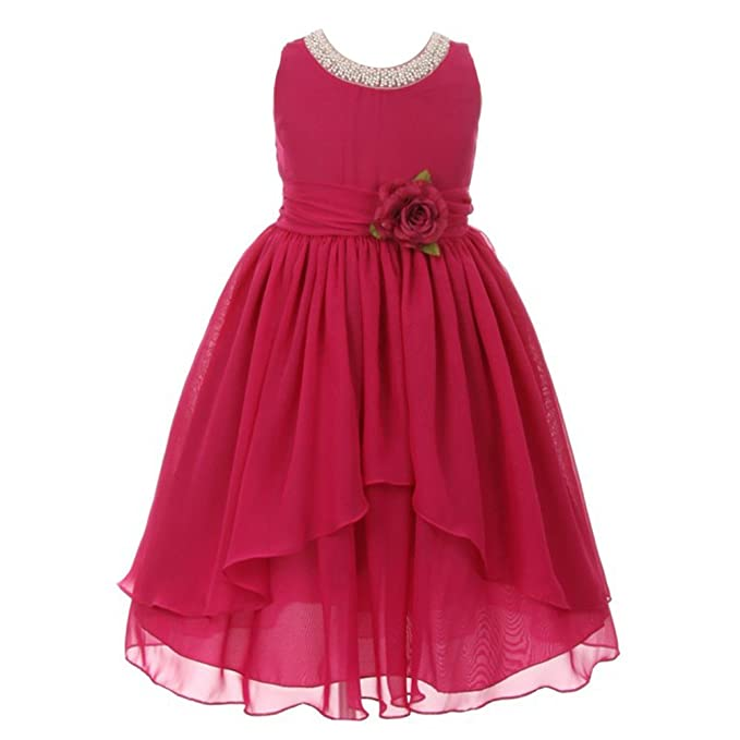 273d8247fea90 Kiki Kids Big Girls Hot Pink Chiffon Beaded Neckline Flower Girl Dress 14