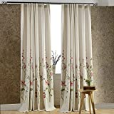 Cheap Anady Top Off White Linen Red Floral Curtains 2 Panel Flower and Green Branch Curtains Living Room Drapes Double Pleated 100 inch Long