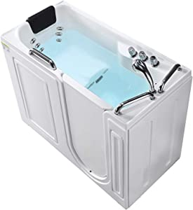 Mecor Walk-in Whirlpool Bathtub , Rectangular Soaking Bathtub with Built-in Seat,Right Intward Opening Door with Right Drain , 53'' x 27'' x 40'' , White