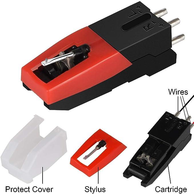 Paquete de 4 Agujas Tocadiscos,Universal Recambio de Agujas para Tornamesa Crosley Technics Philips Auna Jensen - Con fonocaptor