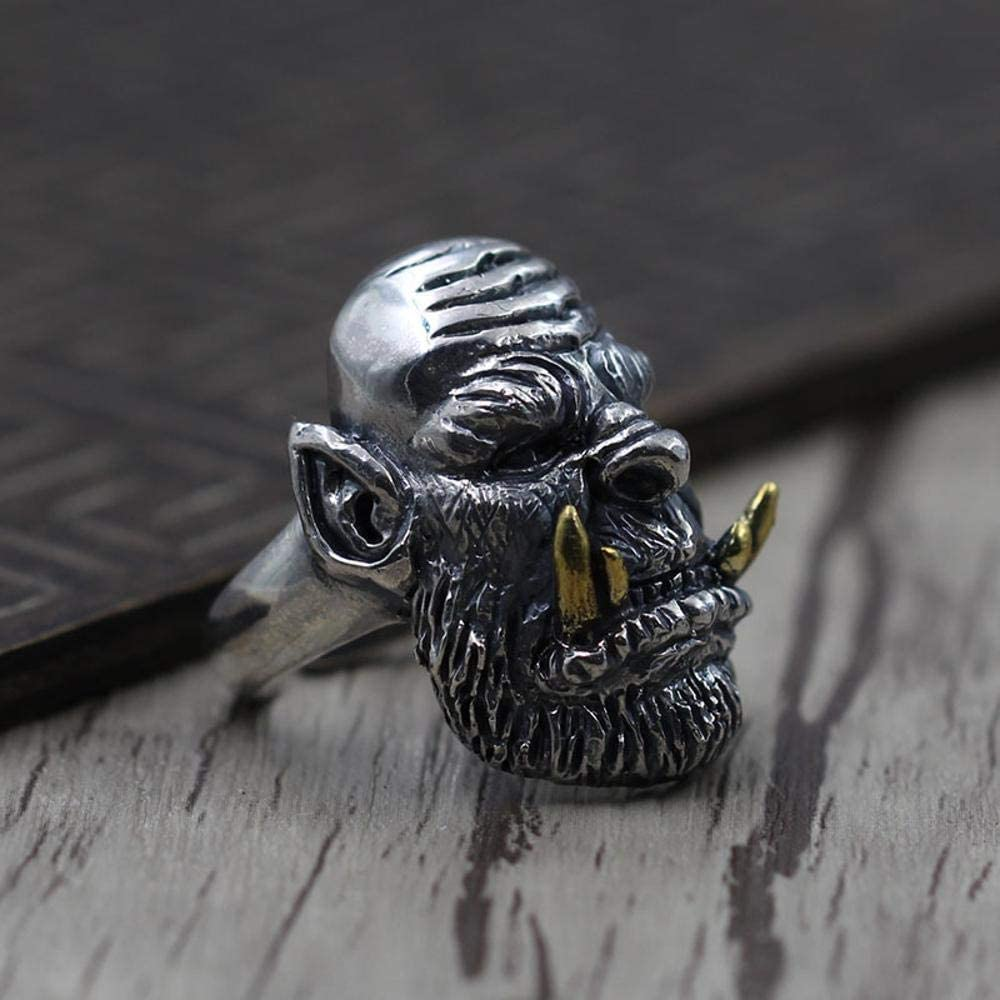 MAFYU S925 Sterling Silver Retro Personality Punk Rock Style Mens Carved Orc Ring Gift to Dear