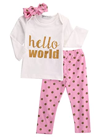16a017d56687 3Pcs Infant Newborn Baby Girls Hello World Romper Tops+Pants Clothes Outfit  Sets (6-12 Months, Polka dot): Amazon.co.uk: Clothing