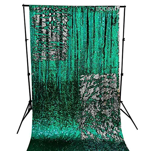DUOBAO Sequin Curtains 2 Panels 96 Inches Silver Glitter Backdrop Curtain Green to Silver Reversible Sequin Backdrop for Photo Booth Mermaid Sequin Backdrop 4FTx8FT by DUOBAO (Image #1)