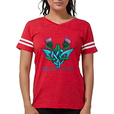 638e6169 Amazon.com: CafePress - Thistles Scotland T-Shirt - Womens Football ...