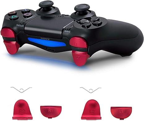 kwmobile Botones de repuesto compatible con Playstation Controlador PS 4 Pro / PS4 Slim (2. Gen) - Botones de aluminio en rojo: Amazon.es: Videojuegos