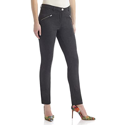 Rekucci Women's Knit 5 Pocket Modern Skinny Pant w/Zippers (X-Small, Charcoal) at Women's Clothing store