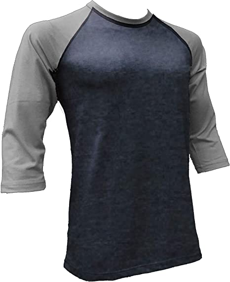 PRO CLUB HEAVY WEIGHT 3//4 Sleeve Baseball Raglan Sports Jersey T-Shirt Crew Neck