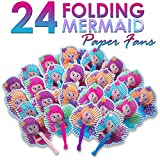 M & M Products Online Mermaid Party Supplies: 24 Folding Mermaid Paper Fans - Variety Of Colors & Designs - Perfect For Any Mermaid Birthday Themed Party & Party Favors - Lifetime Replacement