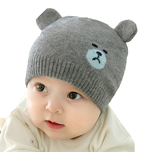 Amazon.com  Reian Unisex Toddler Soft Knit Hat Warm Baby Knit Hat Fall  Winter Wool Cap (Dark Grey)  Clothing 08ef5882beb