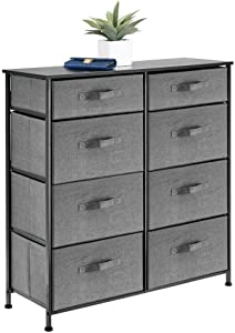 mDesign Vertical Furniture Storage Tower - Sturdy Steel Frame, Easy Pull Fabric Bins - Organizer Unit for Bedroom, Hallway, Entryway, Closets - Clear Front Windows - 8 Drawers - Charcoal Gray