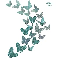 48Pcs Butterfly Decorations, Creatiee 3D Wall Decals|Metallic Art Sticker, DIY/Handmade/Removable/Pressure Resistance Paper Murals Gift for Home Kids Bedroom Nursey Party Décor (Blue)