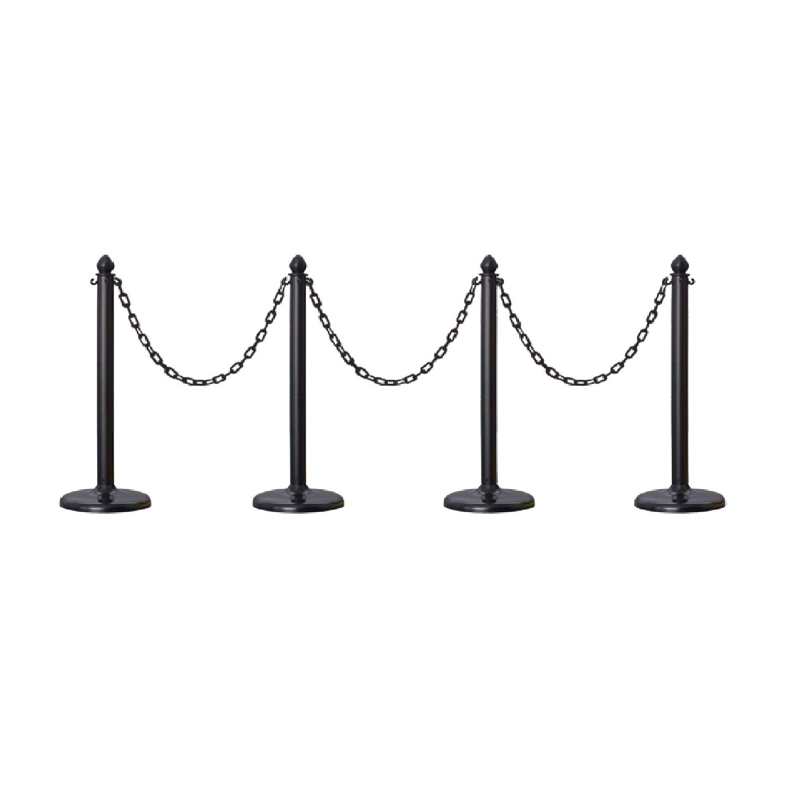 Plastic Safety Queue Stanchion Barrier Set with 32' Chain 4 PCS and C-Hook (Black) by Crowd Control Center