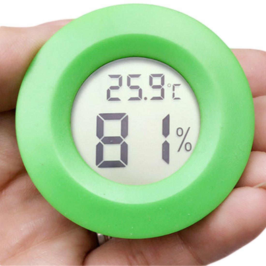 Mini Redondo LCD Term/ómetro Digital Higr/ómetro Frigor/ífico Congelador Temperatura Humedad Medidor Probador Detector