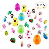 12x Toy Filled Easter Eggs Plastic Surprise Easter Eggs Filled With Animal Toys