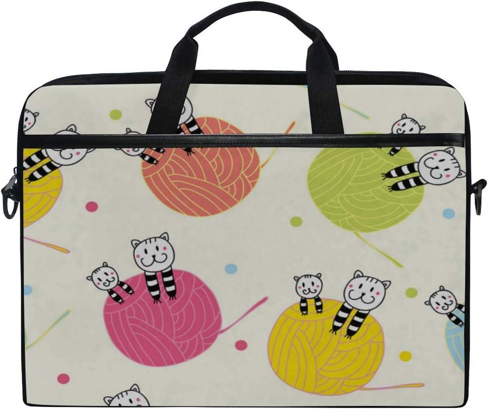 College Students Business People Office Laptop Bag Cats Balls Yarn Pattern 15-15.4 Inch Laptop Case Briefcase Messenger Shoulder Bag for Men Women