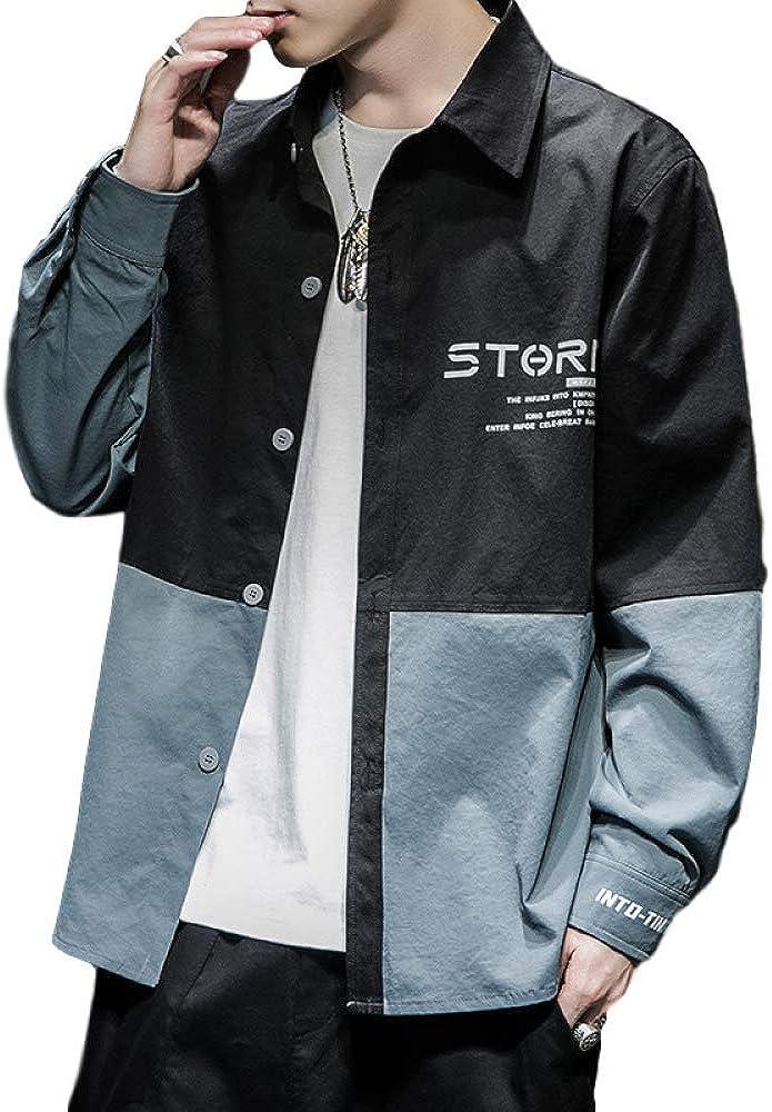 Men's Cardigan Jacket Korean Casual Autumn Long-Sleeved Loose Tooling Shirt