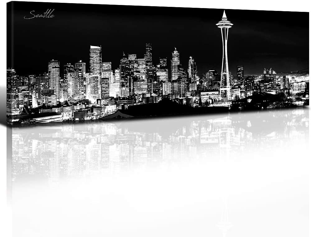 Seattle Skyline Wall Art Canvas Prints Black And White Urban Landscape Artwork Panoramic Picture Skyscraper Poster Giclee Modern Decorative Bedroom Home Decor Stretched And Framed 14x48 Inch 1 Panel Everything Else
