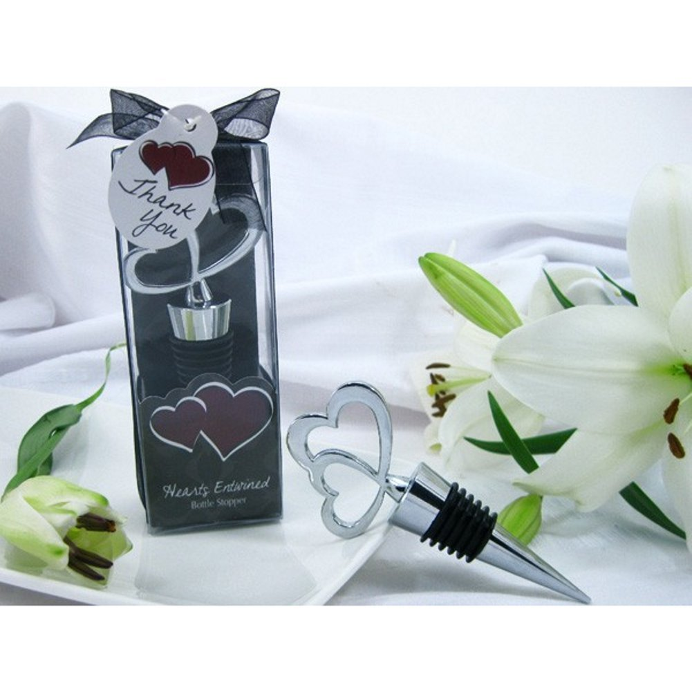 Hearts Entwined Double Heart Bottle Stopper in Designer Gift Box (Pack of 30) by AD