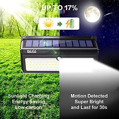 BAXIA TECHNOLOGY LED Solar Lights Outdoor, Wireless Waterproof Motion Sensor Security Lights for Front Door, Outside Wall, Back Yard, Garage, Garden, Fence, Driveway
