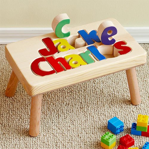 Personalized Wooden Puzzle Stools- Stool Color: Natural, Letter Color: Primary, 1-8 Letters