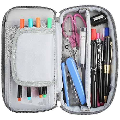 Homecube Pencil Case, Big Capacity Pen Case Desk Organizer with Zipper for School & Office Supplies - 8.74x4.3x2.17 inches, Gray by Homecube (Image #3)