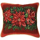 "Violet Linen Decorative Christmas Tapestry Throw Pillow, 18"" x 18"", Poinsettia Design"
